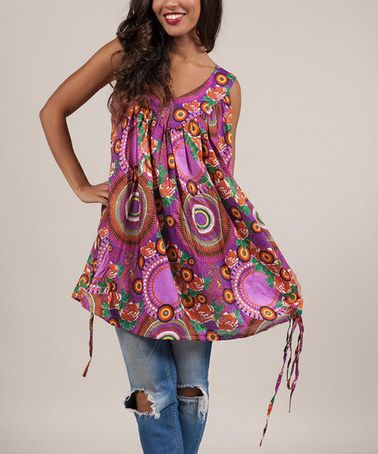 Look at this #zulilyfind! Purple Abstract Floral Yoke Tunic #zulilyfinds