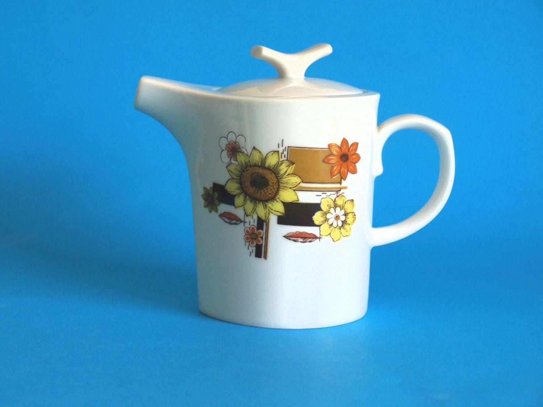 Yamato Fine China Teapot - Sunflower Daisy Retro Pattern - Tea Pot ...