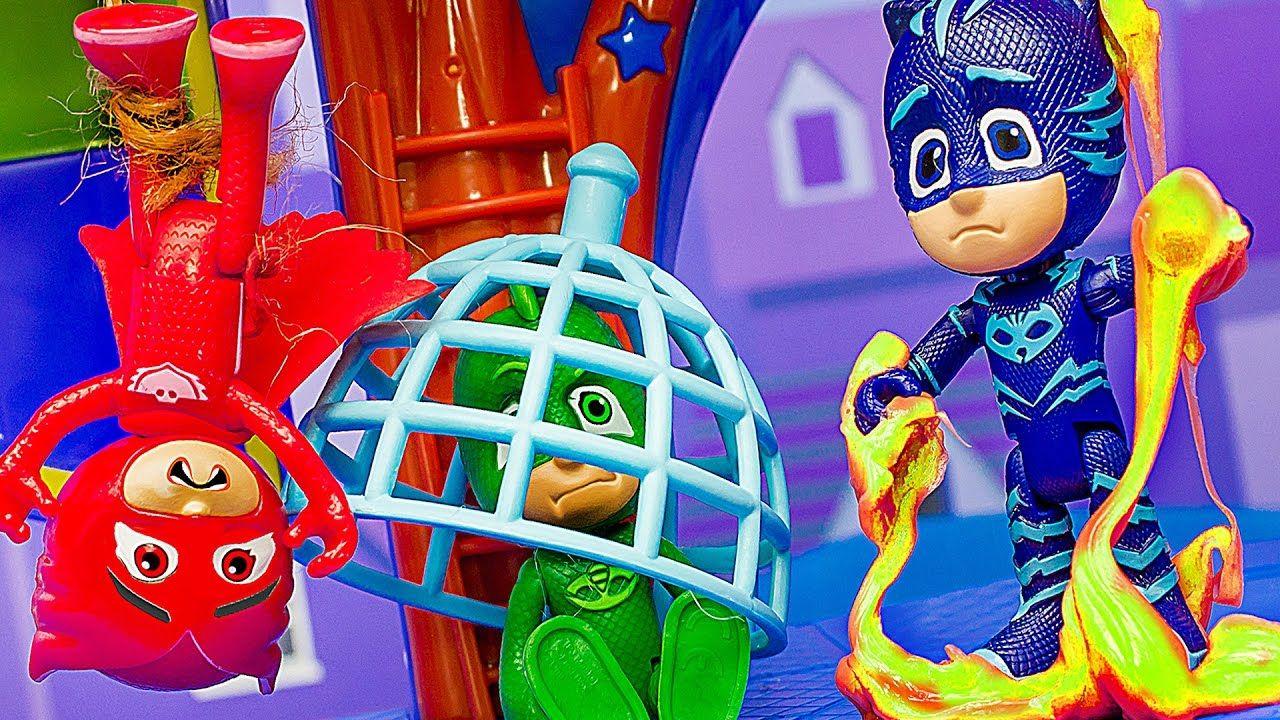 ГЕРОИ В МАСКАХ игрушки. Штаб в опасности! #Кэтбой #Гекко и ...