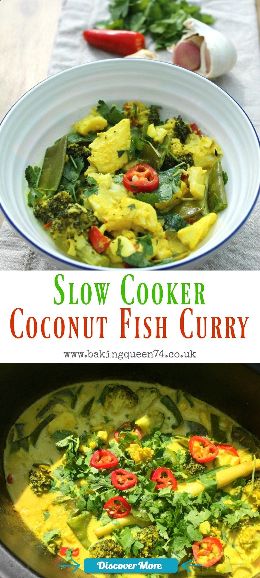 Slow cooker coconut fish curry - an easy to make dish, full of flavour, using your slow cooker #slowcooker #slowcook #slowcookerrecipes #slowcookerchicken