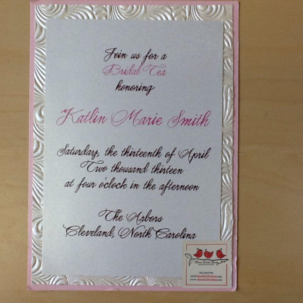 Bridal tea invitation with textured and pink backers.  www.threelittlebirdsinc.com