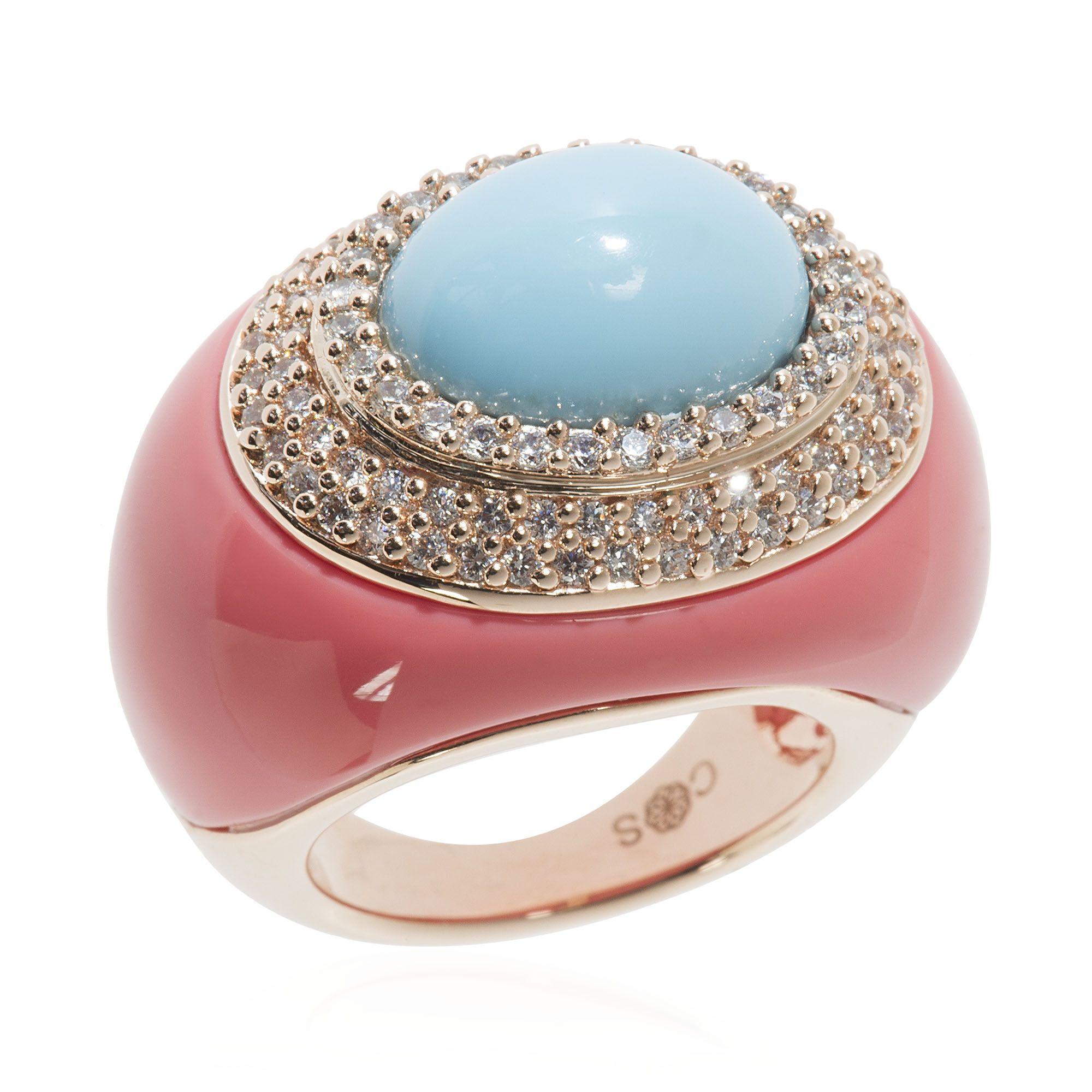 newest 24797 8ed68 Cristina Sabatini Matera, anello a fascia bombata con resine colorate   QVCPressDay · Qvc ...