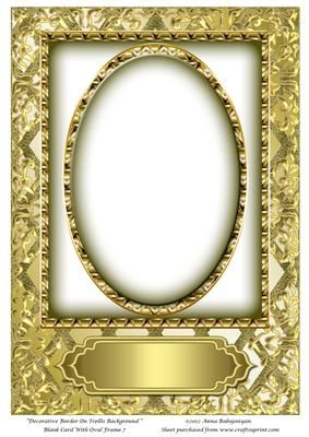 Decorative Border On Trellis Background Blank Card With Oval Decorative Borders Blank Cards Cards