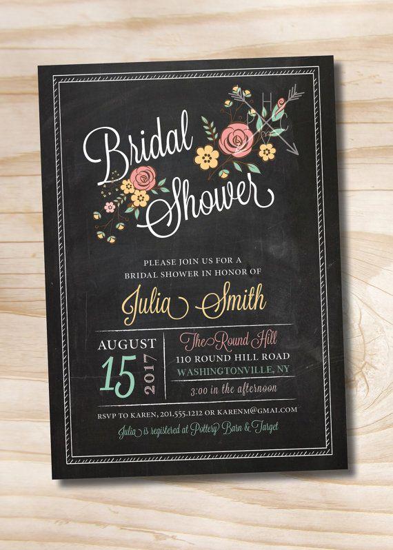 Modern Floral Vintage Chalkboard Bridal Shower Baby Shower