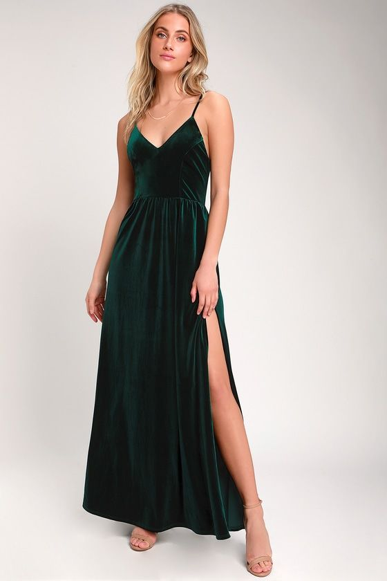 6b3cbe12467 Lovely Dark Green Dress - Velvet Dress - Velvet Maxi Dress
