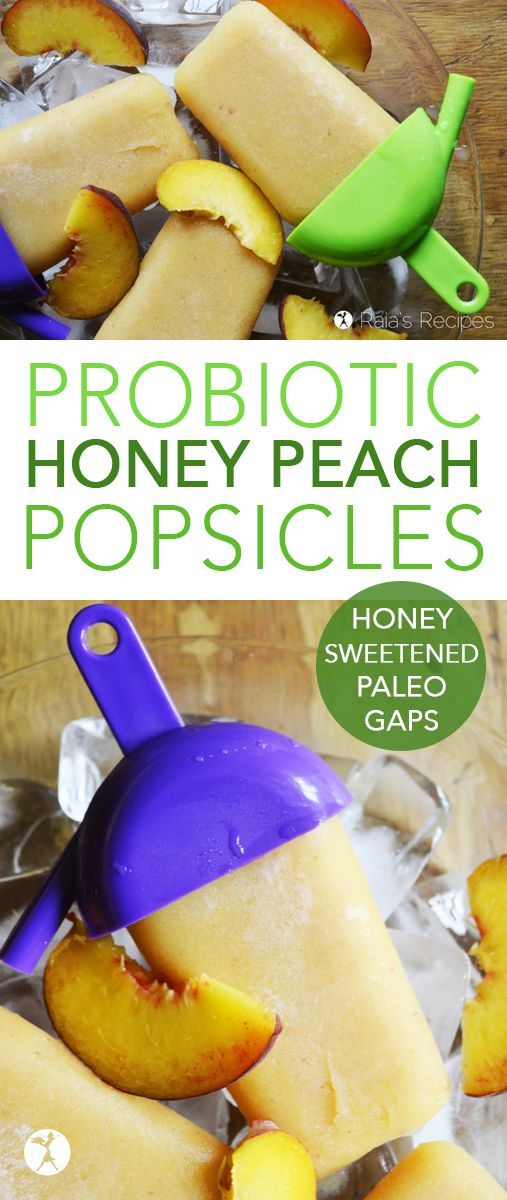 Honey Peach Pops Need a healthy, delicious snack to cool your kiddos down? Give these paleo, naturally-sweetened, allergy-friendly Honey Peach Popsiclesa try!