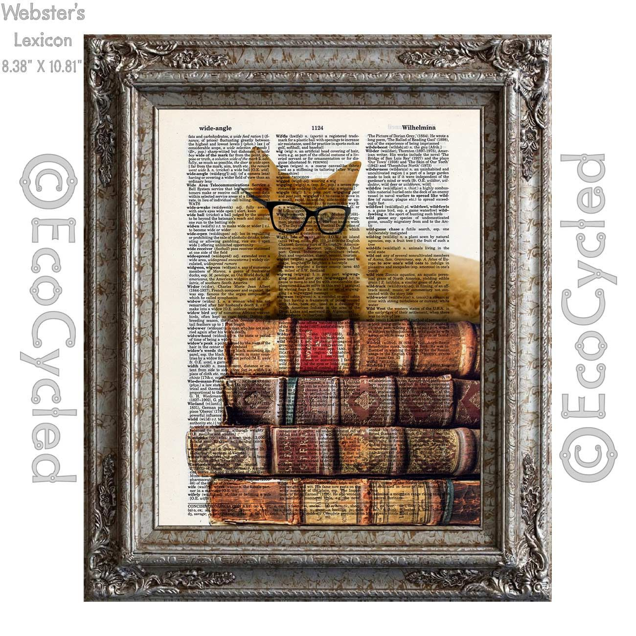 New to EcoCycled on Etsy: Pondering Thinking Cat and Books 4 on Vintage Upcycled Dictionary Art Print Book Art Print Recycled Reading Read Literacy (10.00 USD)