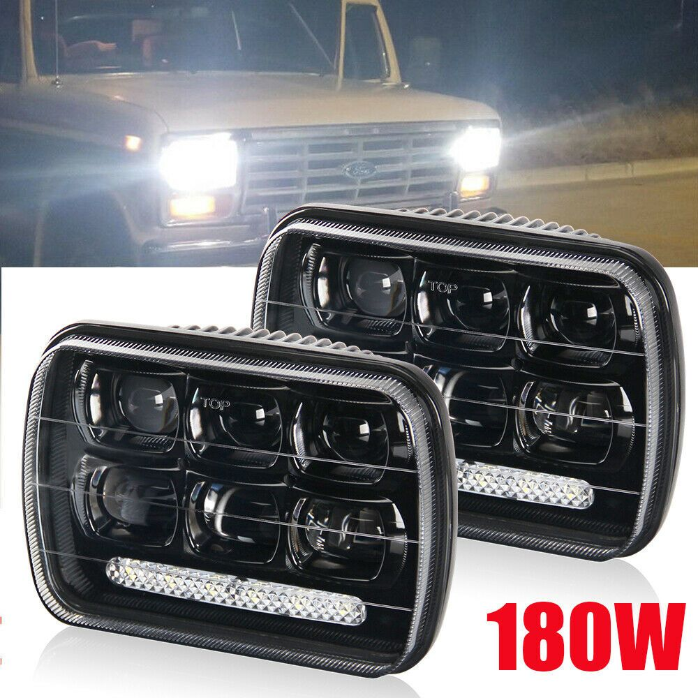 Dot 180w 7x6 5x7 Drl Led Headlights For Chevrolet Jeep Cherokee