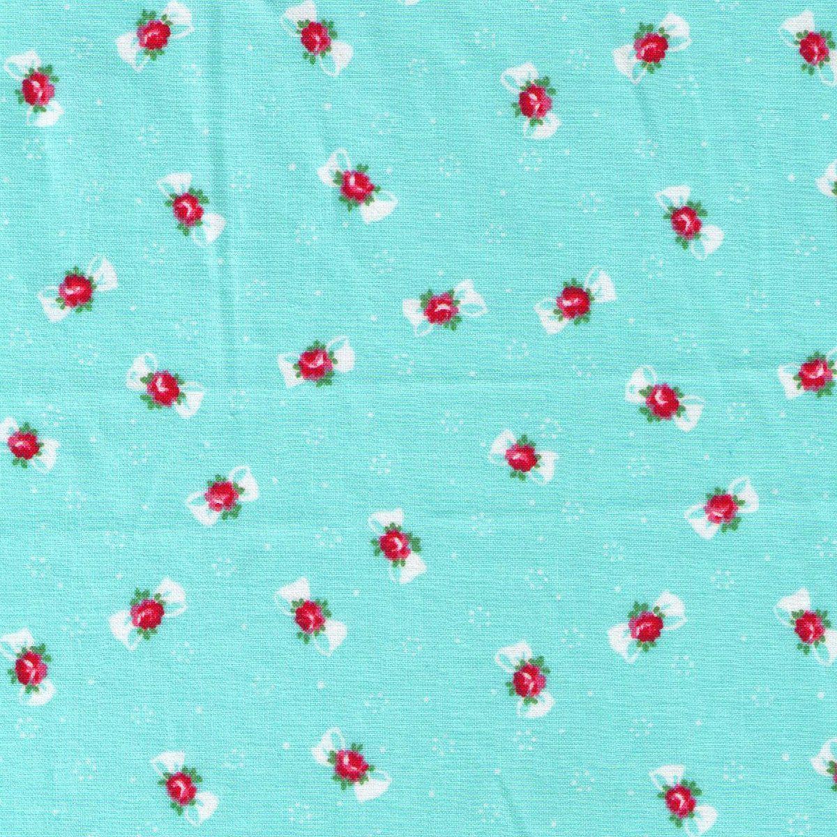 HALF YARD Yuwa Fabric -Petite Bows and Flowers on Aqua Blue - Atsuko Matsuyama - Japanese Import Fabric by fabricsupply on Etsy