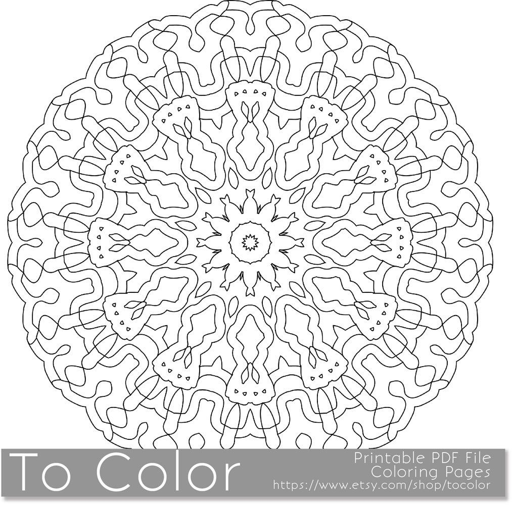 Detailed mandala coloring pages - Printable Coloring Pages For Adults Detailed Mandala Pattern Pdf Jpg Instant Download