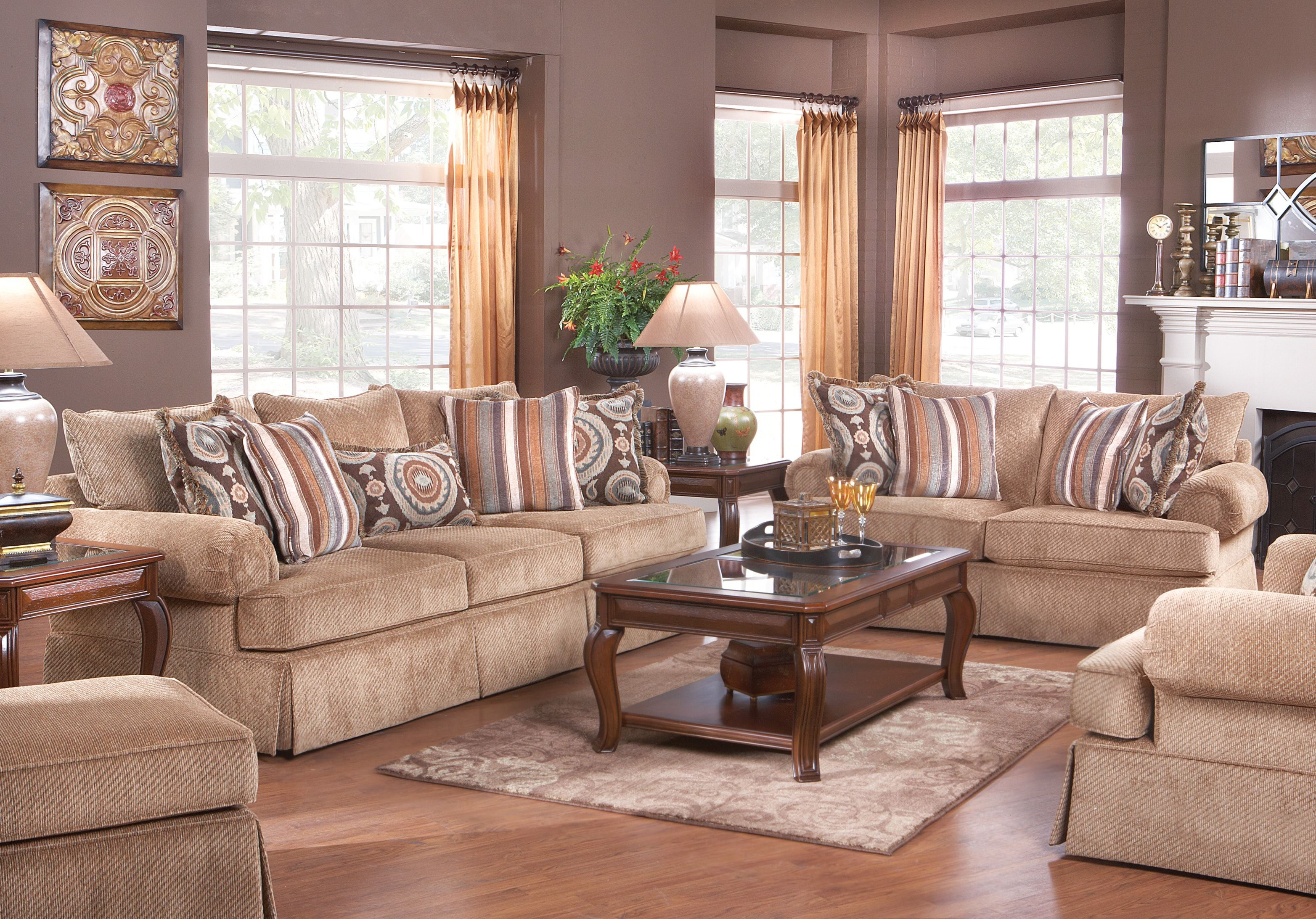 Best Cindy Crawford Charlestown Brown 7Pc Classic Living Room 640 x 480