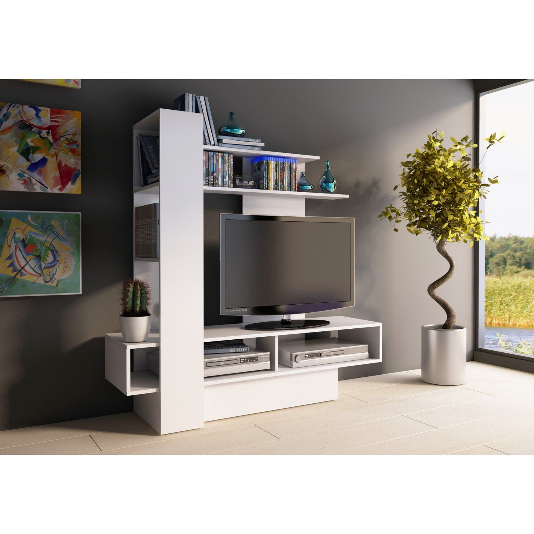 Entertainment Center Accent Wall With Vinyl: Trasman Sky Wall Unit TV Stand - 4010