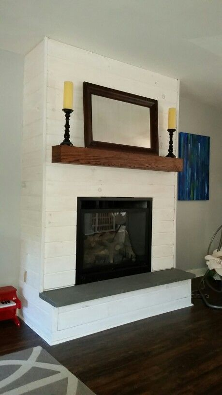 Fireplace Makeover Diy Whitewash Panel Shiplap Bluestone Hearth Oak Mantel Fireplace Remodel Fireplace Makeover Brick Fireplace Makeover