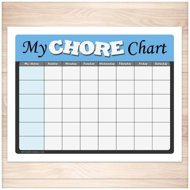 Kids Chore Chart  Blue My Chore Chart Weekly Page  Printable