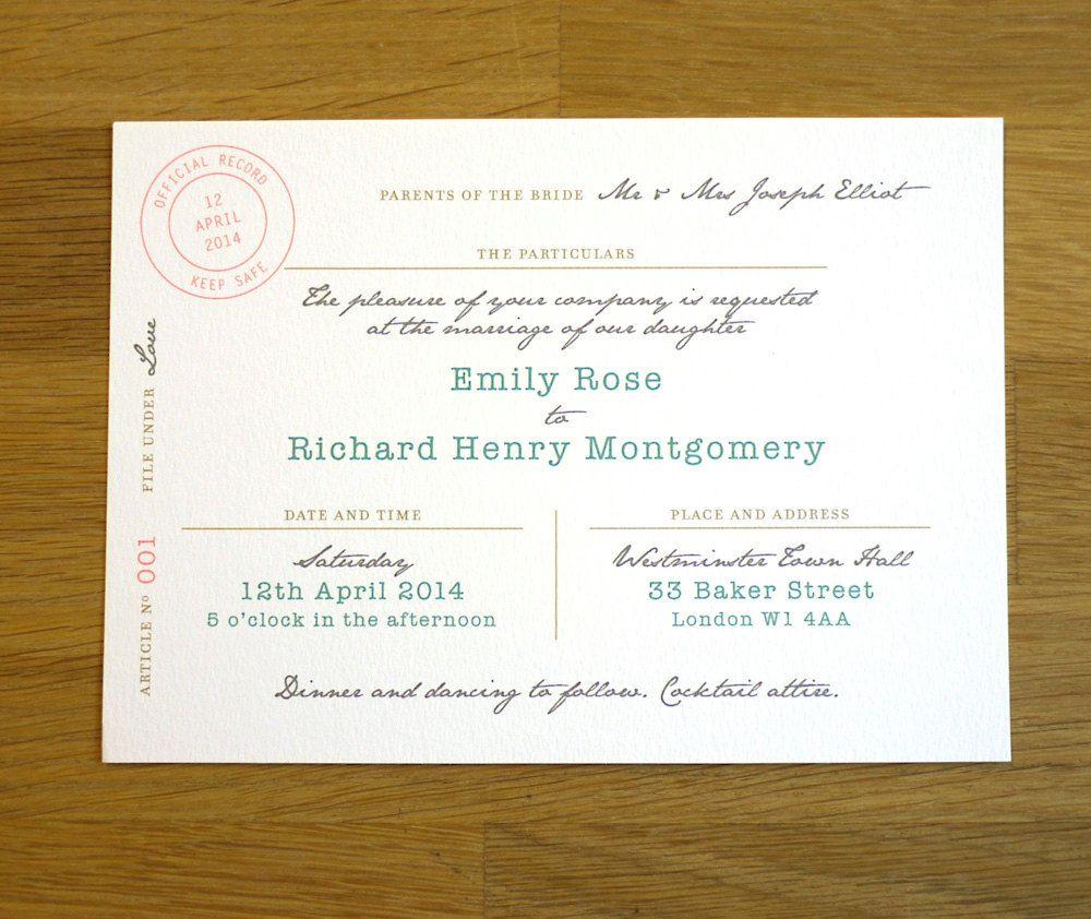 Marriage Certificate Wedding Invitation   U0027Itu0027s Officialu0027 Design   One  Sample. $3.75,