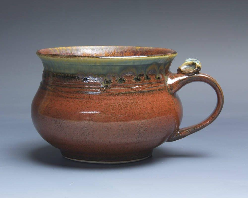 Handmade pottery soup mug ceramic chili mug cereal ice cream bowl iron red 20 oz 3967 by BlueParrotPots on Etsy