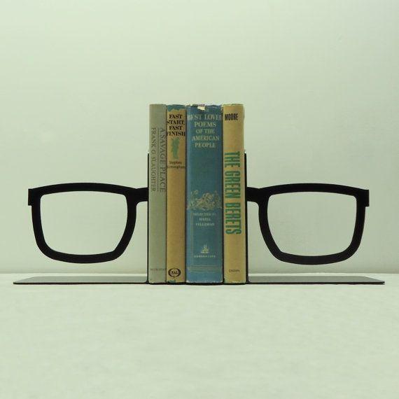 Split Glasses Metal Art Bookends