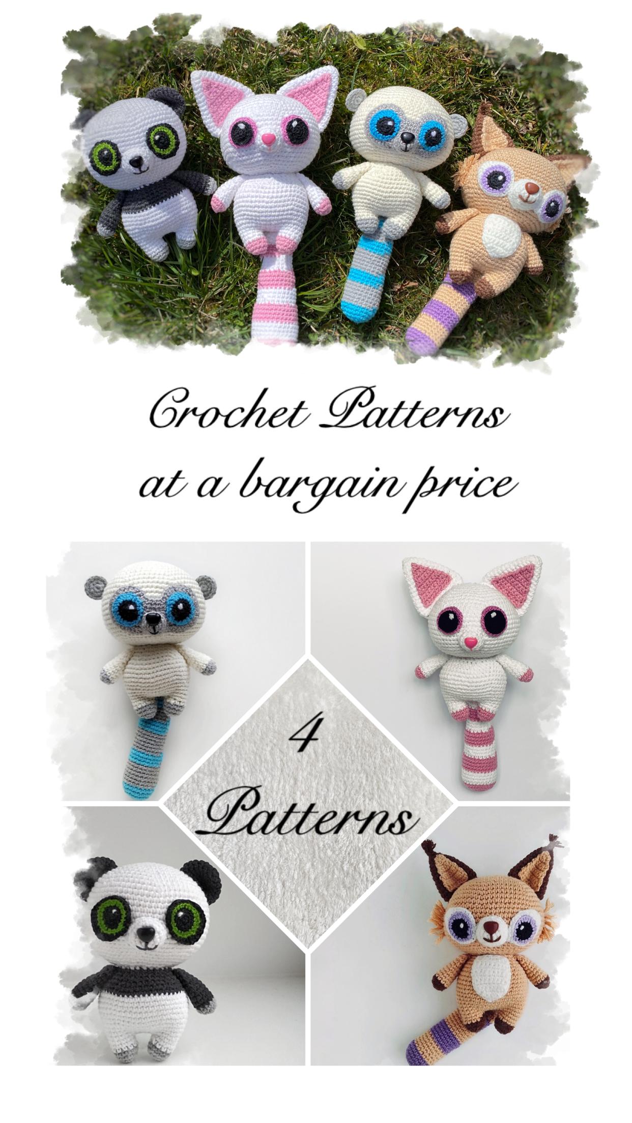 4 CROCHET PATTERNS SET animals /Crochet Amigurumi pattern / | Etsy