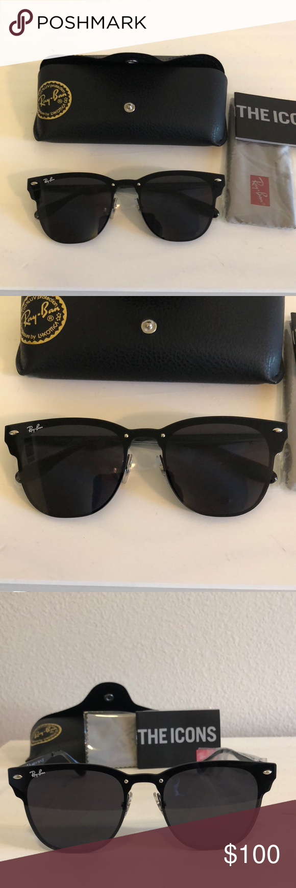 4ac97996a1 Ray-Ban Blaze Clubmaster RB3576-N 153 9A Standard size. All Black ...