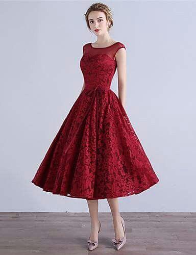 d58df3ae376 Vestido en linea A en rojo | wedding dresses | Dresses, Cocktail ...