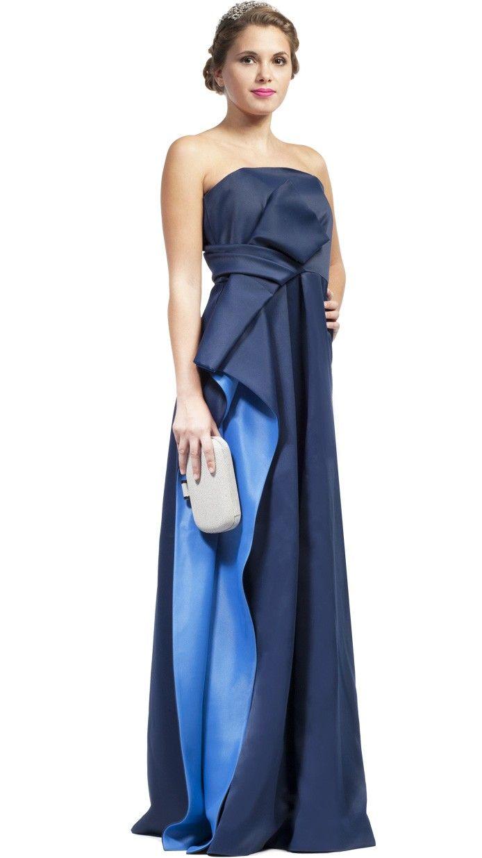 7dcbac758 HALSTON HERITAGE Vestido de fiesta largo azul noche palabra de honor- blue  party long dress - Invitadas de boda - wedding - Dresseos