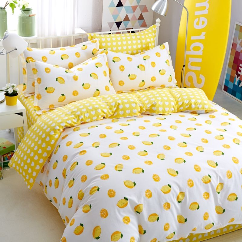 Wannaus Yellow Lemon Fresh Style Cotton 4 Piece Bedding Sets Duvet Cover Yellow Bedroom Decor Bedding Sets Bed Decor