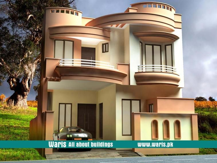 Waris House 3d View Elevation 27x64 In Gujranwala Cantt Pakistan Village House Design House Outside Design Bungalow House Design