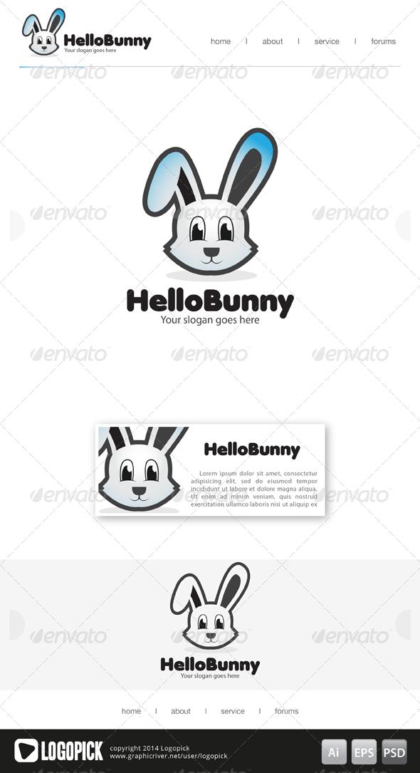 Hello Bunny Logo Bunny Logo Pet Logo Design Animal Logo