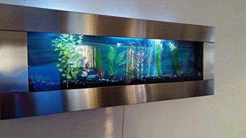 Wall Aquarium 48 X18 Stainless Steel Fish Tank Color Changing Lights