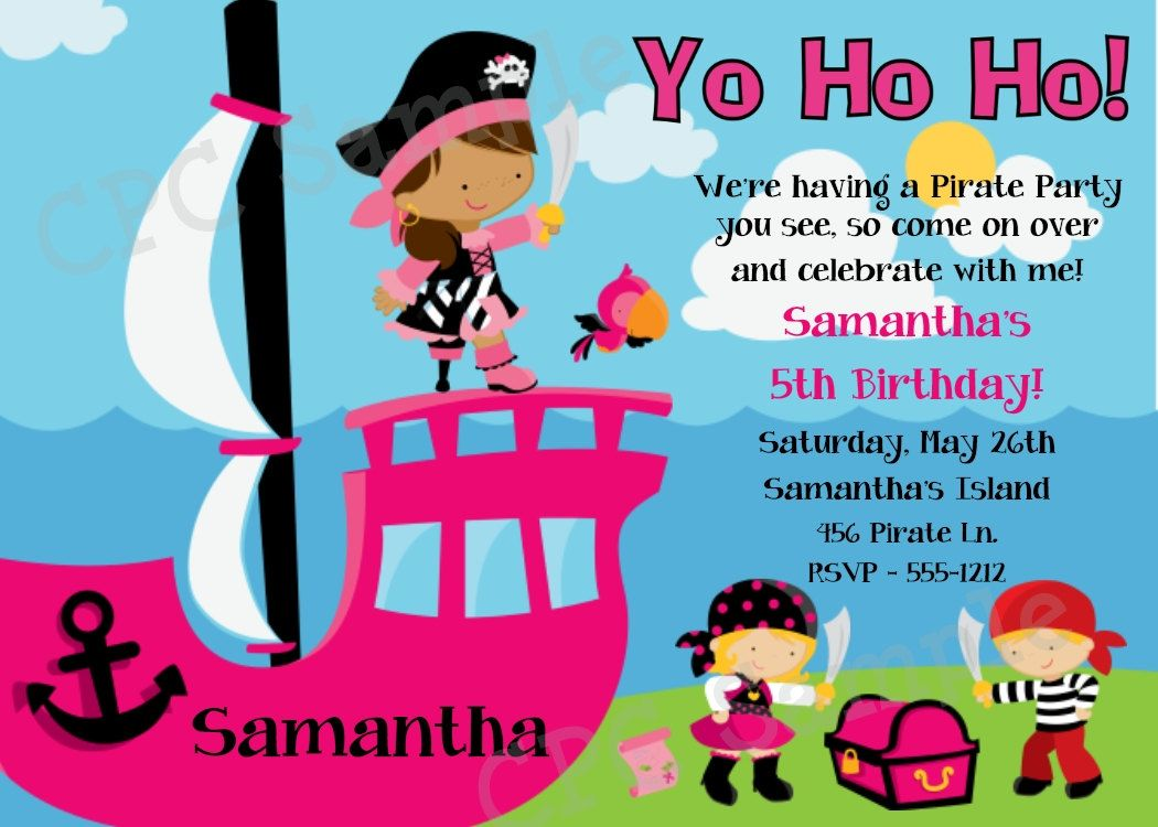 Girl Pirate Birthday Invitation - Printable or Printed Party Invite ...