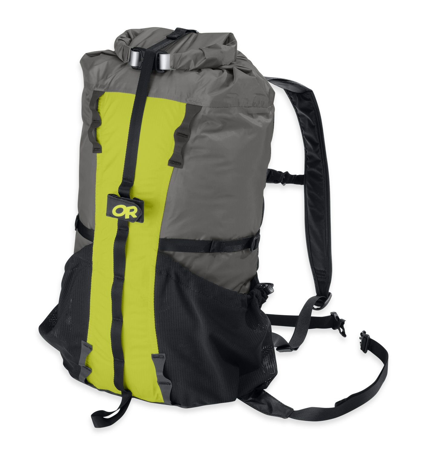 Outdoor Research Drycomp Summit Sack -  ultralight, waterproof, airpurge strip for maximum compression. Sewn and taped seams, and reinforced fabric on the bottom and back area. Mesh side pockets, and gear loops secure. Compression stamps, and padded shoulder straps.