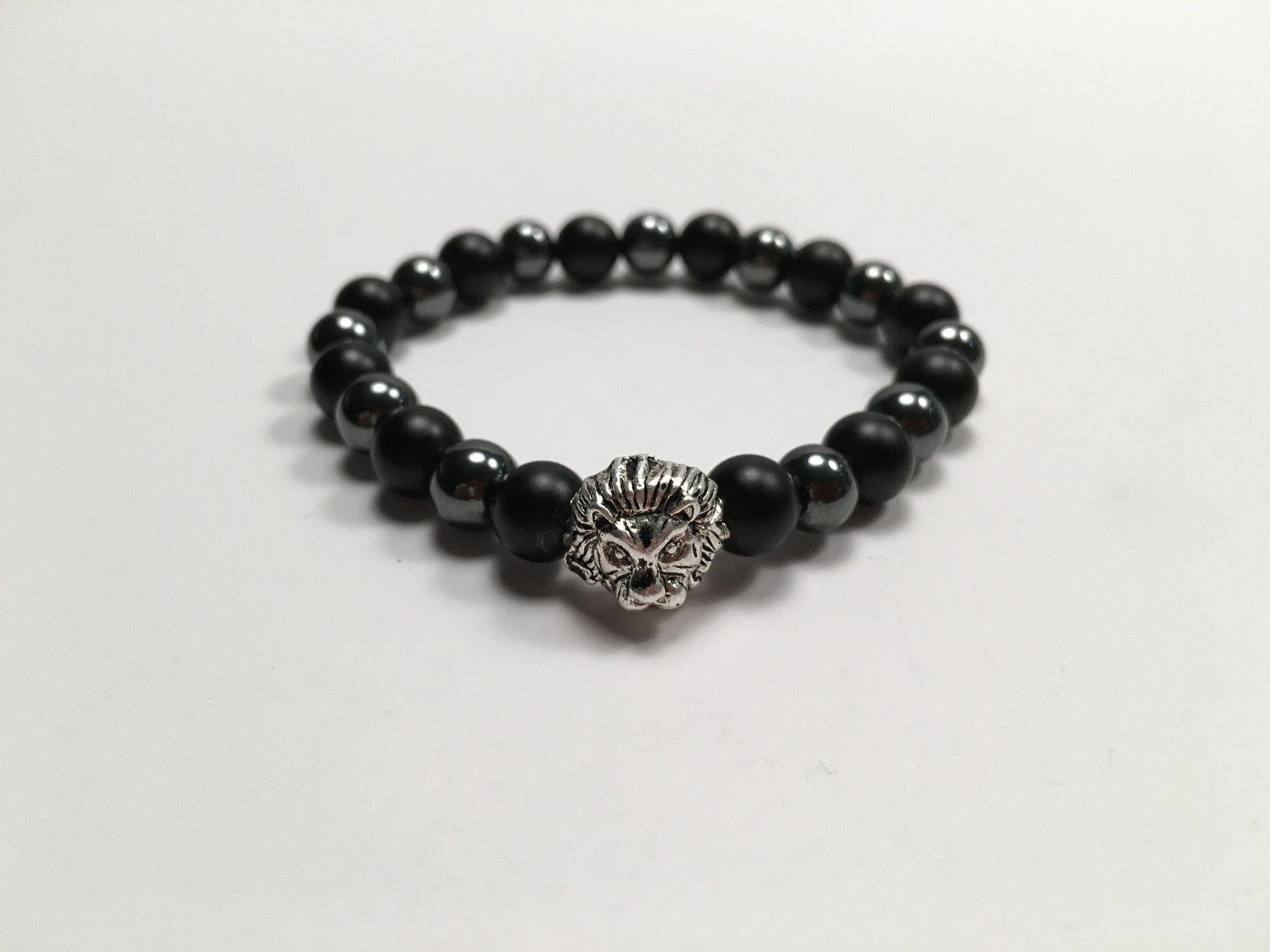 Buddha Bracelet, Black Dull Polish Matte Onyx & Black Hematite Beads, Lion head, Beads bracelet