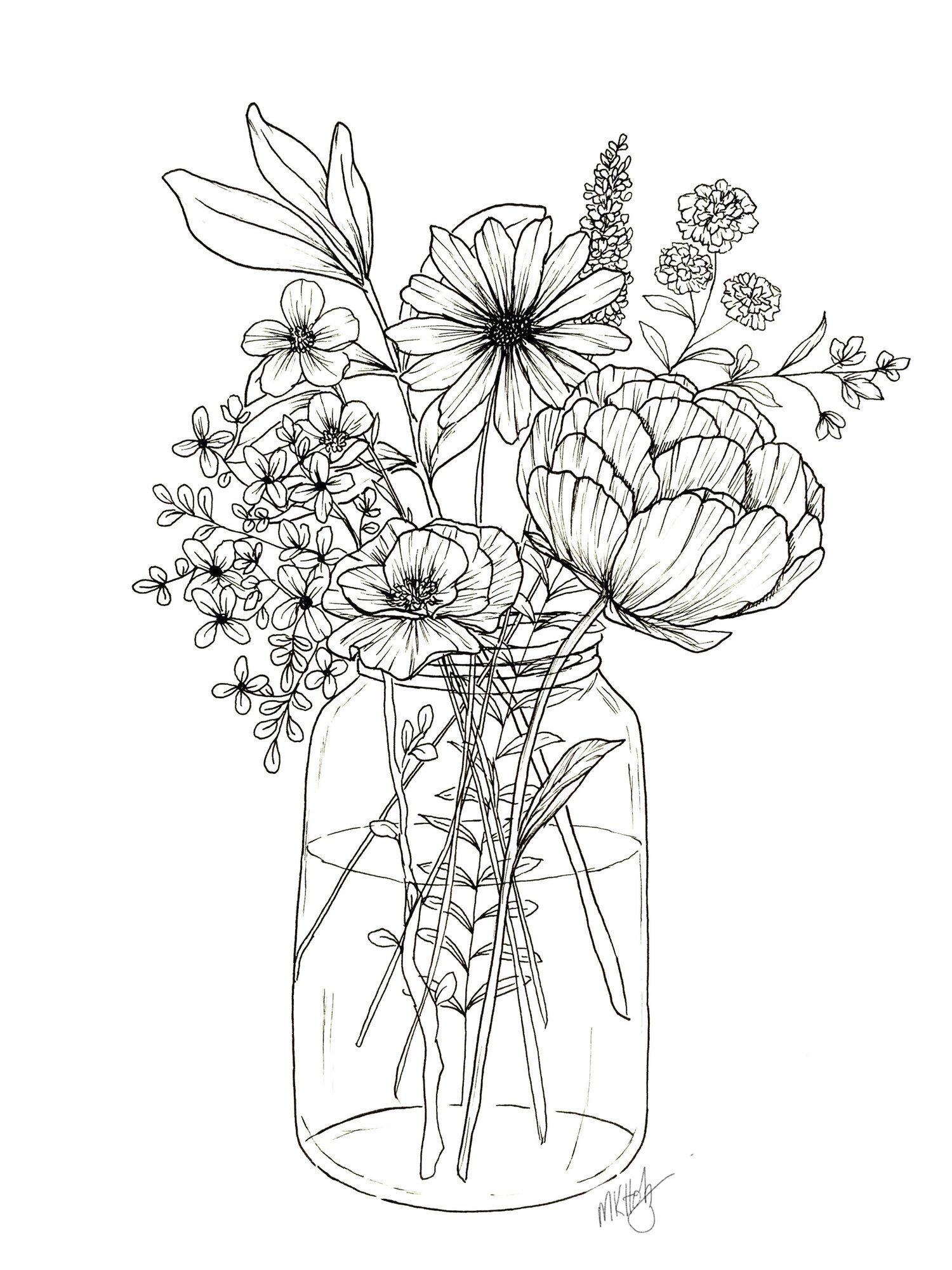 Floral Arrangement Coloring Page In 2020 Flower Line Drawings Floral Drawing Flower Sketches