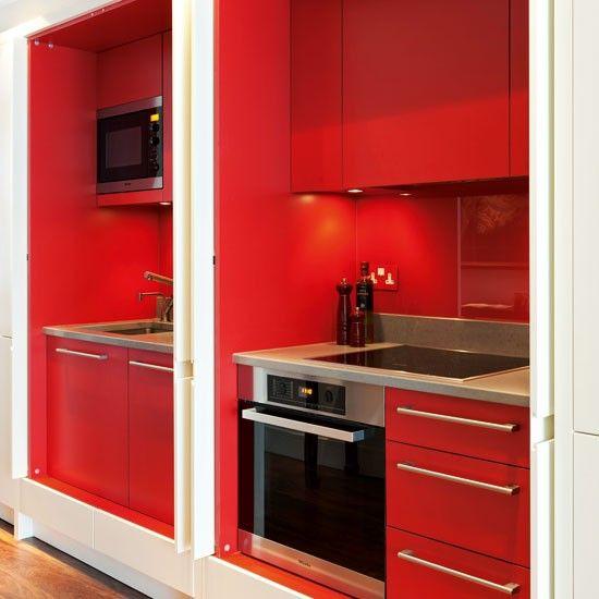 Diseño de cocinas en rojo Cocinas Rojas Pinterest Galley