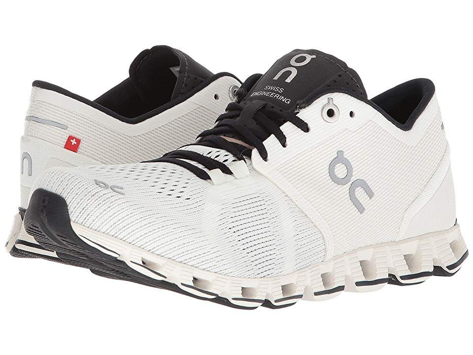 On Cloud X (White/Black) Women's Shoes. The Cloud X mixes training and running into one light and comfortable shoe to help you achieve your lofty goals. On footwear inspires a more efficient running style by promoting a more forward foot strike  as well as a centered and energized running position. Benefits: On delivers a blend of the injury protection found in traditional running shoes  with the natural ride of its lightweigh