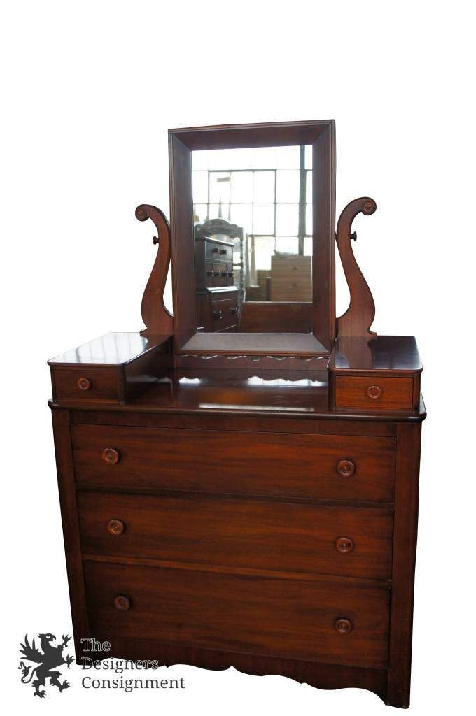 Rare Cavalier Antique 1940s Mahogany Dresser With Mirror Early American Style The Designers Consignment
