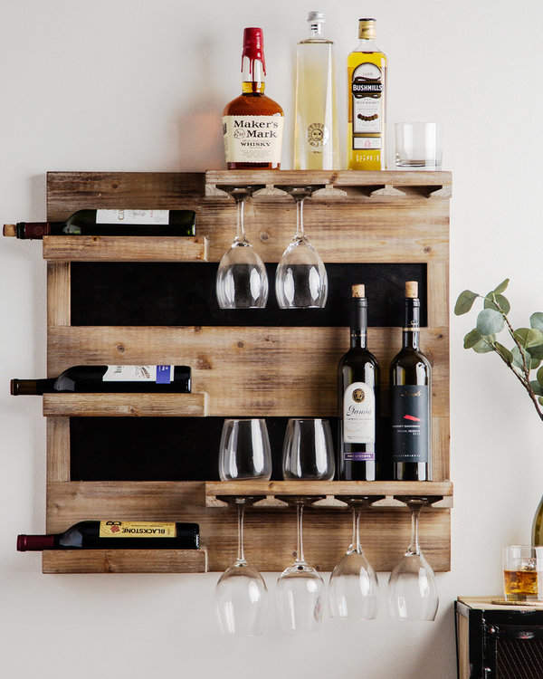 wooden hanging bar wine rack design