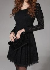Graceful Round Neck Long Sleeve Black Lace Dress
