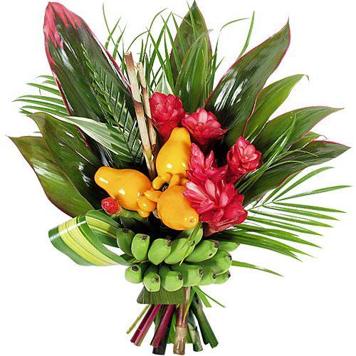 bouquet de fleurs exotiques compos s de fleurs et feuillages des les tropicales le plaisir. Black Bedroom Furniture Sets. Home Design Ideas