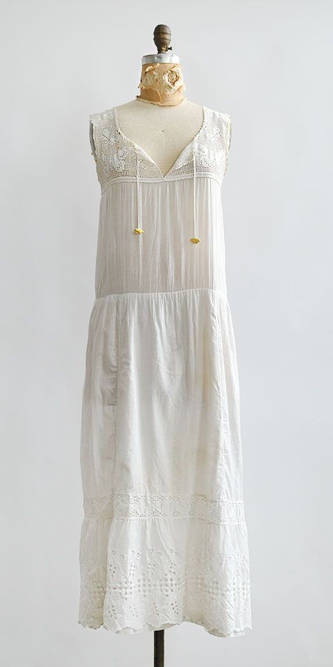 antique 1910s cotton drop waist chemise dress / Humming Meadows ...