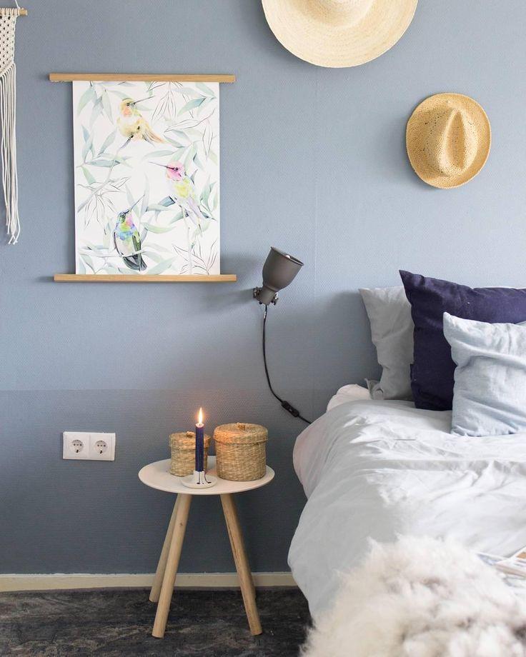 Schlafzimmer Wandfarbe Schlafzimmer Dekorieren: Wandfarbe Steinblaue Schönheit In 2019
