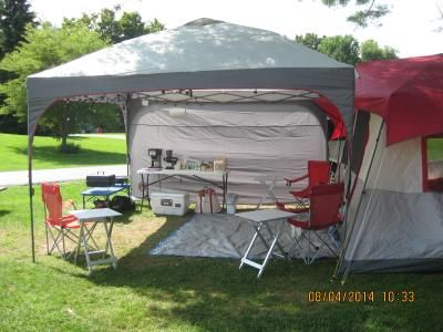 C&site Layout (Side View) - Photo of our family tent with a Coleman x Instant Straight Leg Canopy as our  Front Porch . I love tent c&ing! & Campsite Layout (Side View) - Photo of our family tent with a ...