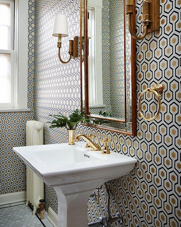 Inspiración de fin de semana: Papel pintado en el baño ...