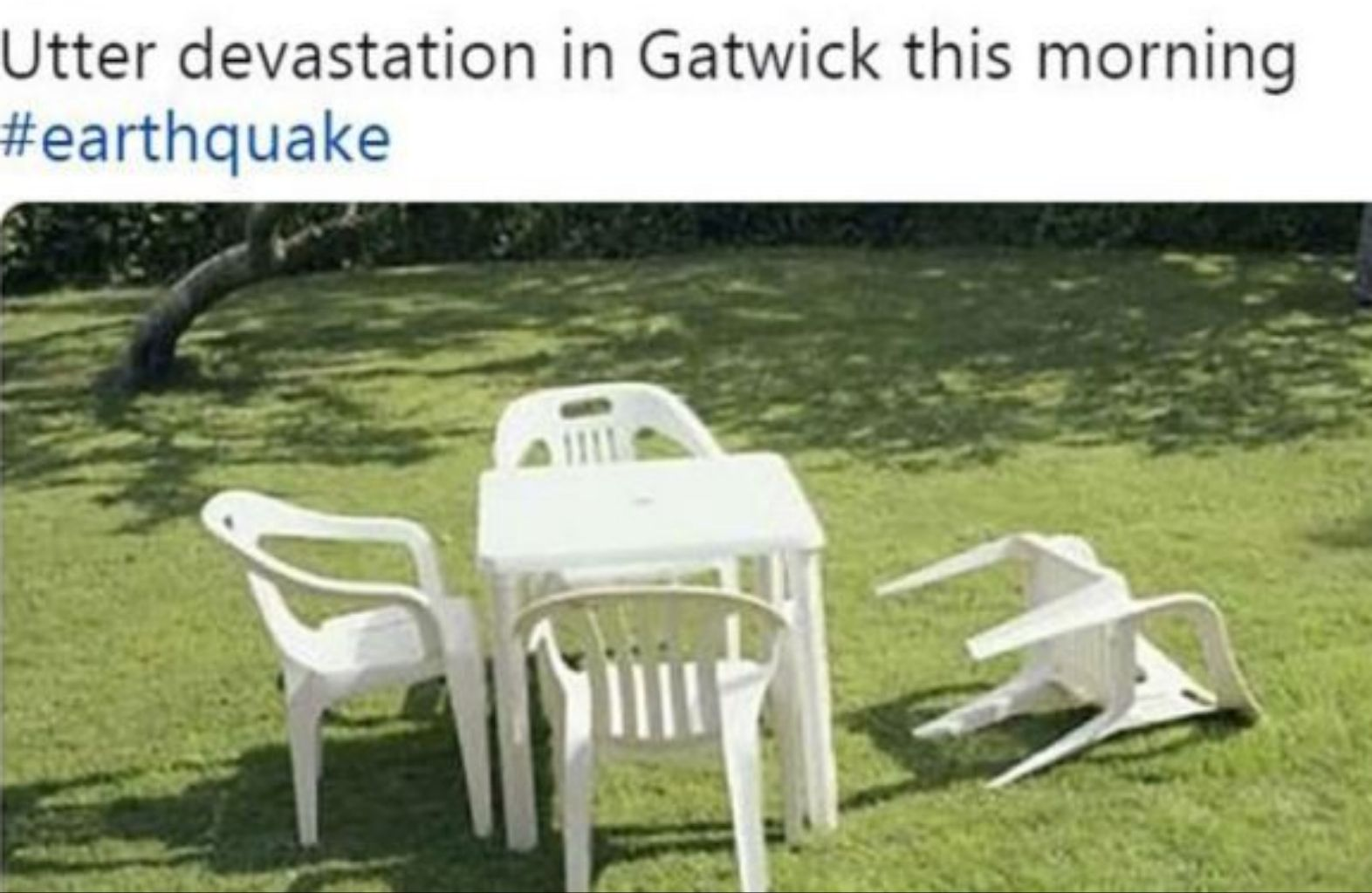 Total destruction after massive earthquake in england