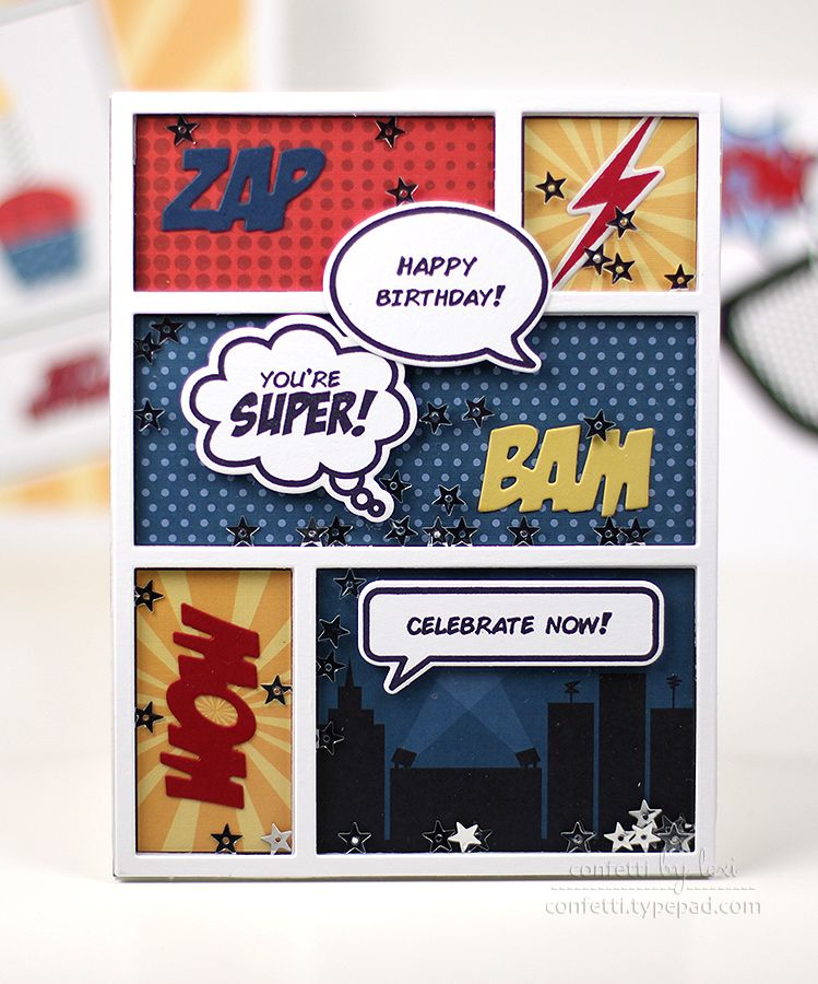 Comic Book Shaker Card by Lexi Daly for Papertrey Ink (January 2015)