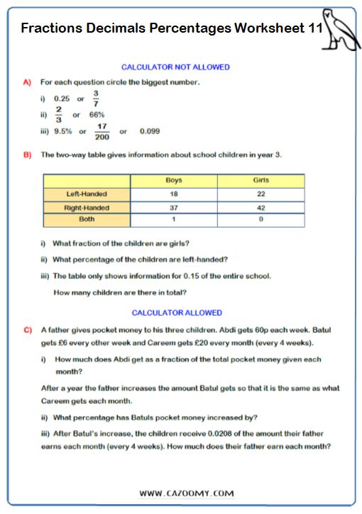 Fraction Decimals Percentages Problem Solving Worksheet