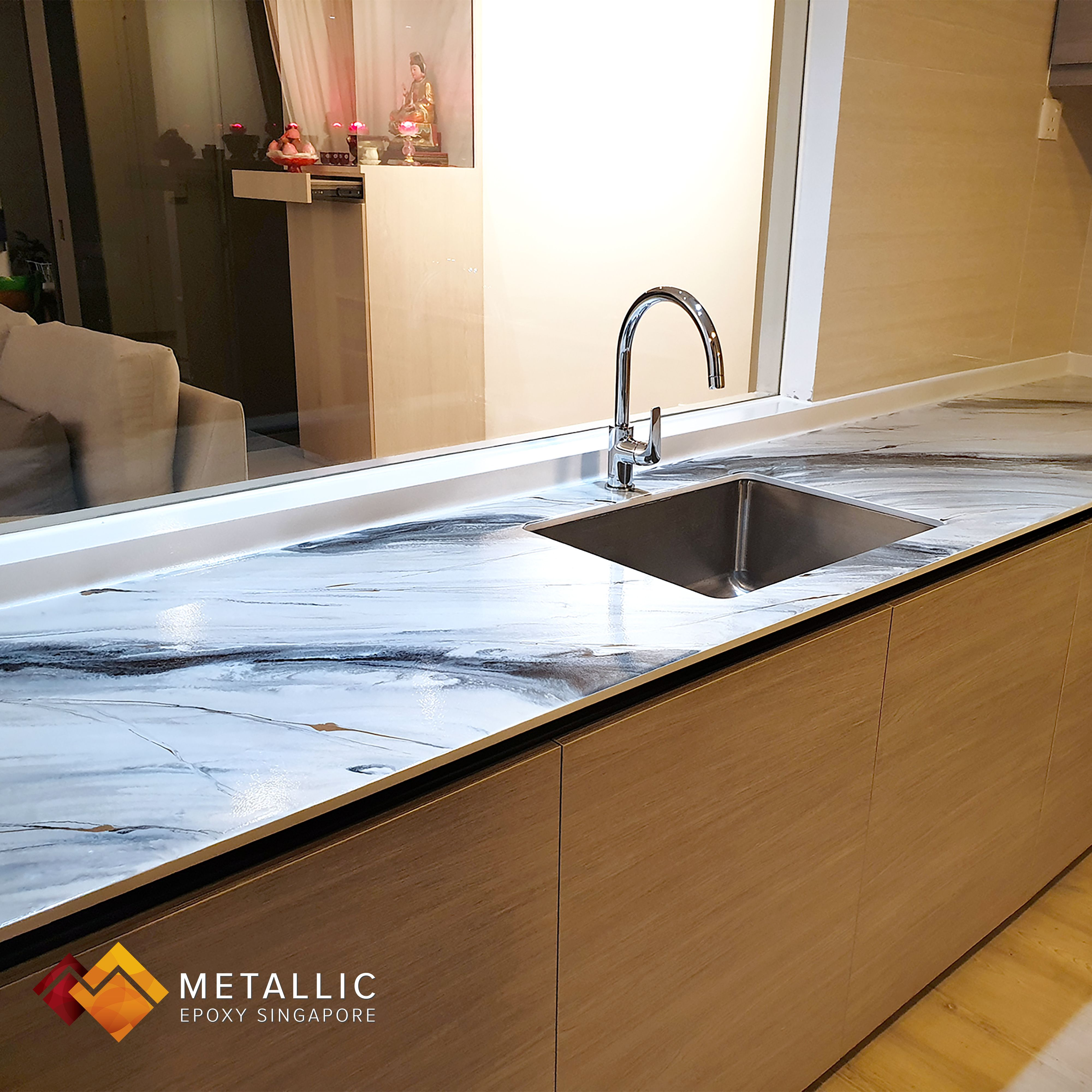 Metallic Black And Olive Green Streaks On This Kitchen Countertop