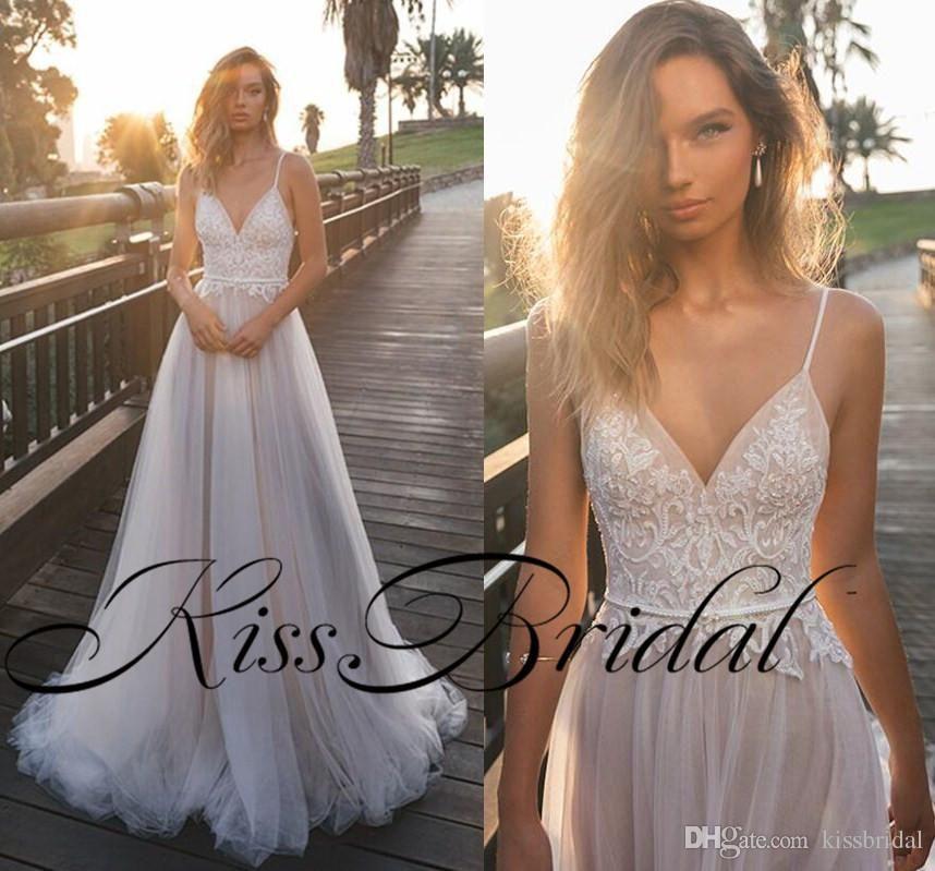 ba2199952830f 2018 Summer Beach Wedding Dresses Julie Vino Sexy Backless Lace Boho Bridal  Gowns Spaghetti Straps Cheap Wedding Gowns