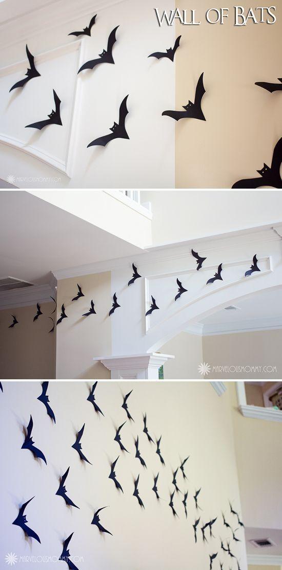 Easy DIY Halloween Decor | Wall Of Bats #halloween #craft #bats #spooky #project #decoration #fun #kids #silhouette #cameo #ideas by batjas88