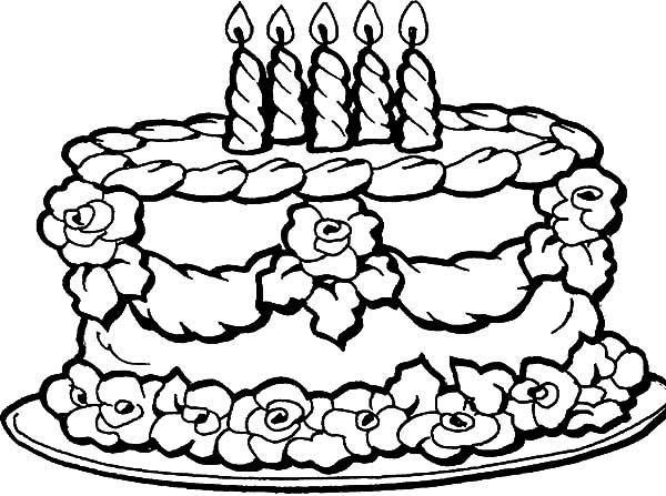 Decorating Birthday Cake With Flowers Coloring Pages Netart Happy Birthday Coloring Pages Cupcake Coloring Pages Birthday Coloring Pages